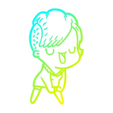cold gradient line drawing of a cute cartoon girl with hipster haircut