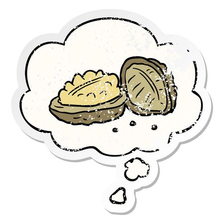 cartoon walnuts with thought bubble as a distressed worn sticker Banque d'images - 130151857