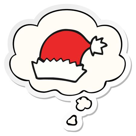 cartoon christmas hat with thought bubble as a printed sticker Ilustrace