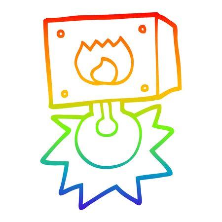 rainbow gradient line drawing of a cartoon flashing fire warning light Ilustração