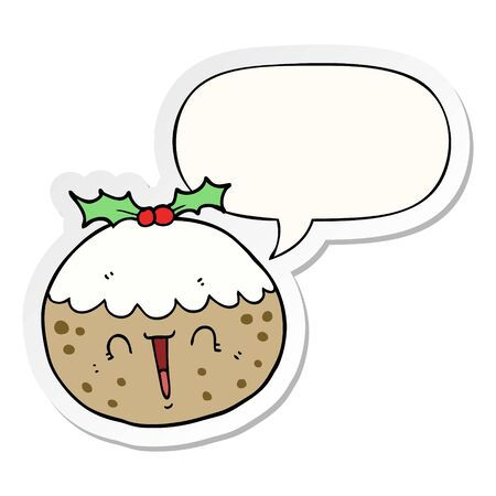 cute cartoon christmas pudding with speech bubble sticker
