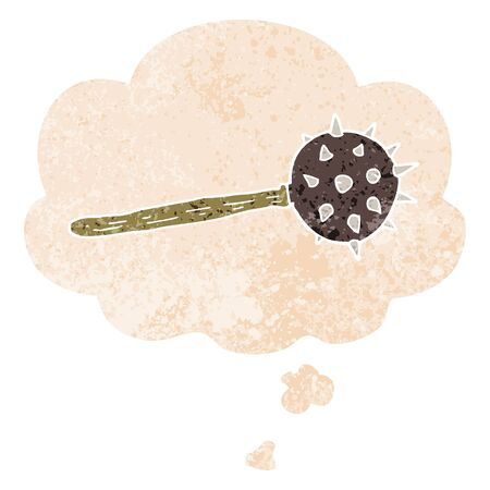 cartoon medieval mace with thought bubble in grunge distressed retro textured style Illustration