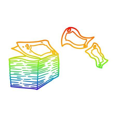 rainbow gradient line drawing of a cartoon money blowing away Stock Illustratie