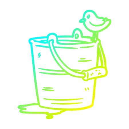 cold gradient line drawing of a bird looking into bucket of water Illusztráció