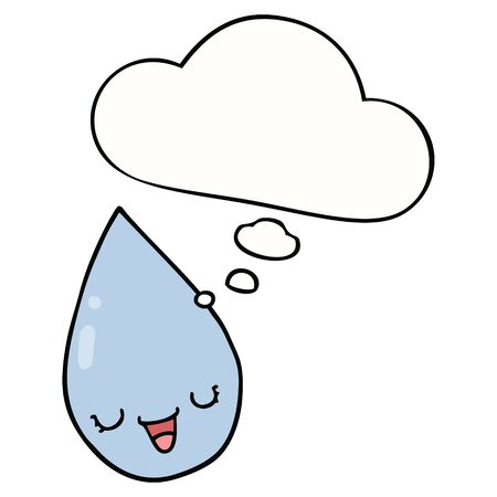 cartoon raindrop with thought bubble