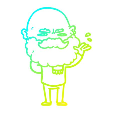 cold gradient line drawing of a cartoon dismissive man with beard frowning Иллюстрация