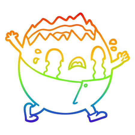 rainbow gradient line drawing of a humpty dumpty cartoon egg man crying Archivio Fotografico - 130152062