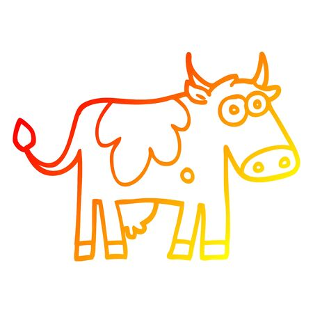 warm gradient line drawing of a cartoon farm cow