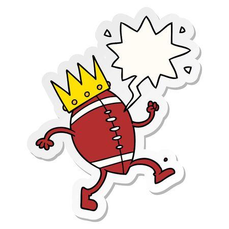 football with crown cartoon with speech bubble sticker Stock Illustratie