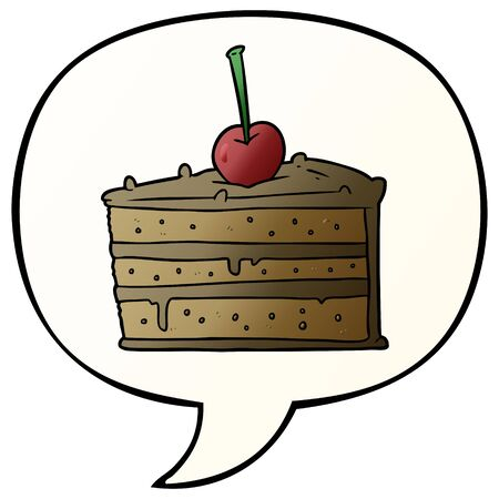 cartoon tasty chocolate cake with speech bubble in smooth gradient style Ilustração