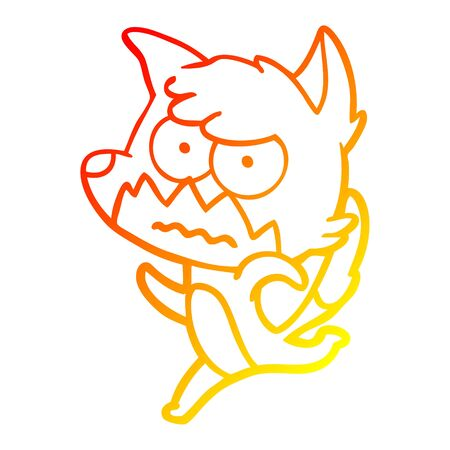 warm gradient line drawing of a cartoon annoyed fox
