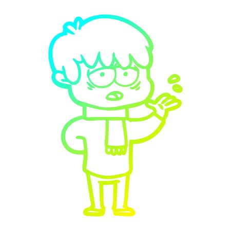 cold gradient line drawing of a cartoon exhausted boy