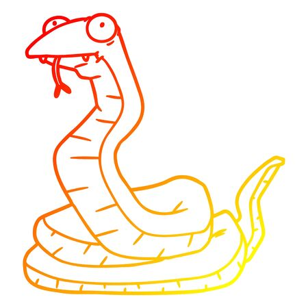 warm gradient line drawing of a cartoon snake