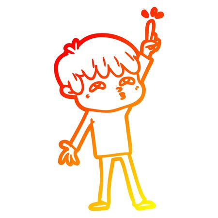 warm gradient line drawing of a cartoon boy asking question Stock Illustratie