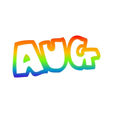 rainbow gradient line drawing of a cartoon month of august Ilustração