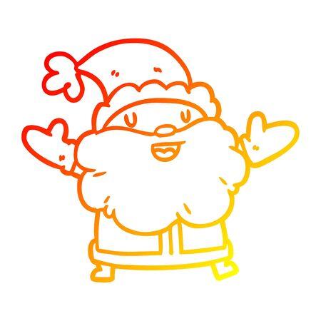 warm gradient line drawing of a santa claus Иллюстрация