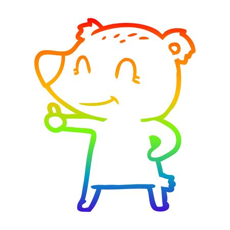 rainbow gradient line drawing of a cartoon bear giving thumbs up sign