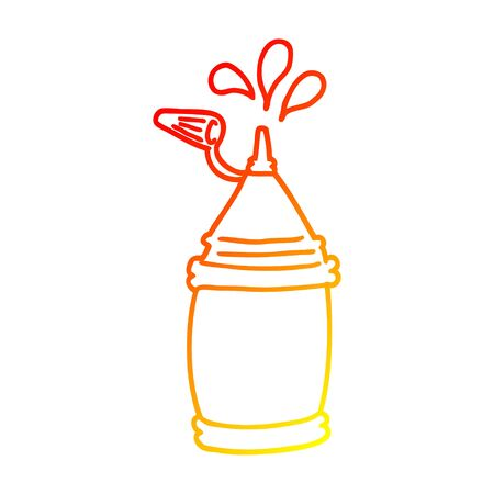 warm gradient line drawing of a cartoon ketchup bottle Illustration