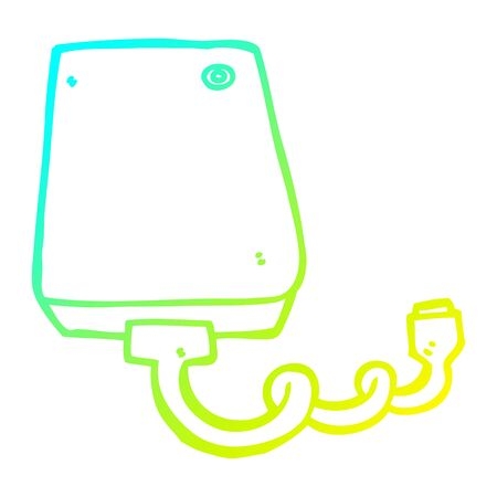 cold gradient line drawing of a cartoon hard drive