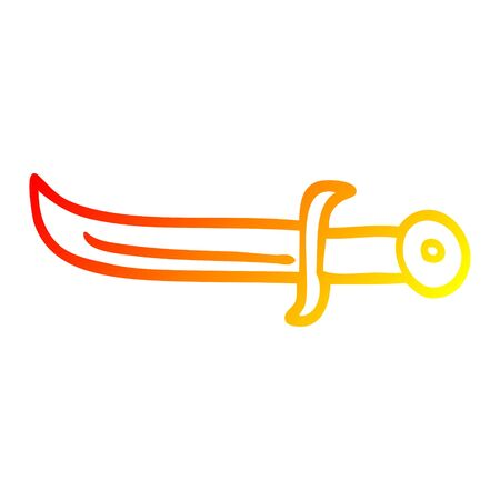 warm gradient line drawing of a cartoon golden dagger