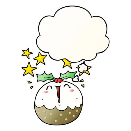 cute cartoon happy christmas pudding with thought bubble in smooth gradient style
