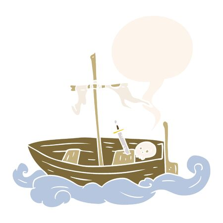 cartoon old shipwrecked boat with speech bubble in retro style Foto de archivo - 130152255