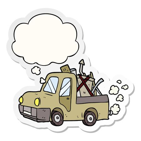 cartoon old truck with thought bubble as a printed sticker Illustration