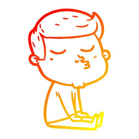 warm gradient line drawing of a cartoon model guy pouting  イラスト・ベクター素材
