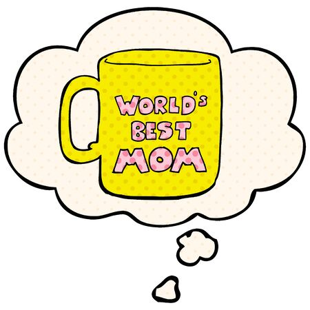 worlds best mom mug with thought bubble in comic book style