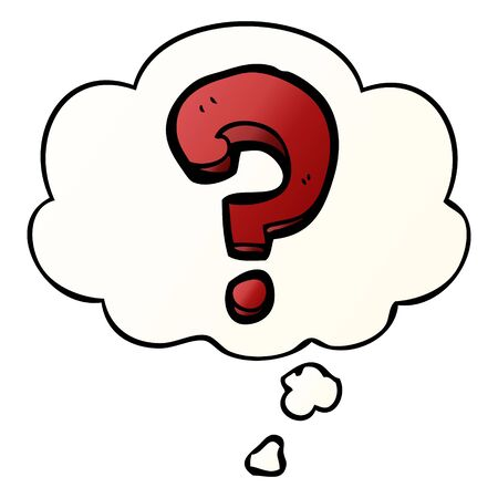 cartoon question mark with thought bubble in smooth gradient style
