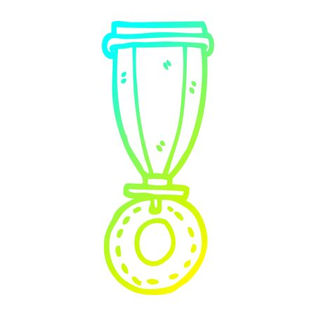 cold gradient line drawing of a cartoon medal