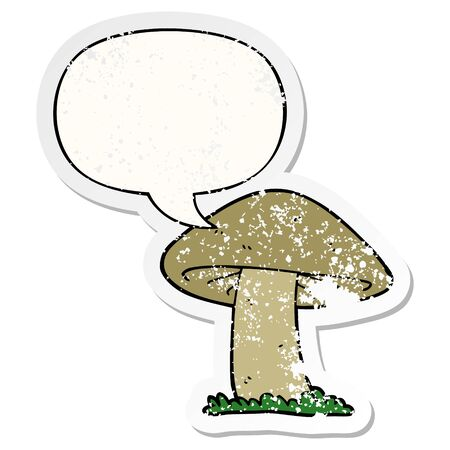 cartoon mushroom with speech bubble distressed distressed old sticker
