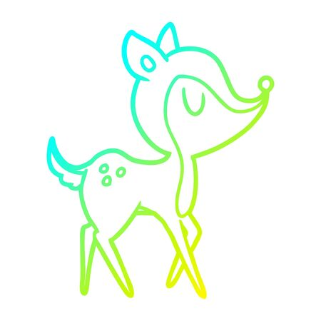 cold gradient line drawing of a cartoon cute deer Illustration