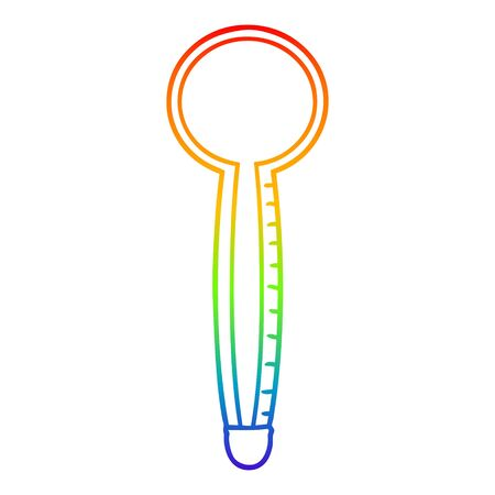 rainbow gradient line drawing of a cartoon thermometer Illustration