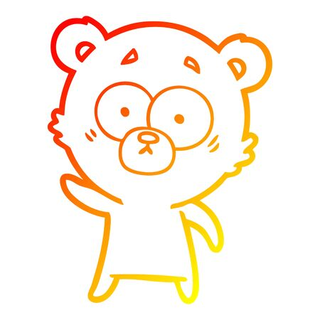 warm gradient line drawing of a worried bear cartoon