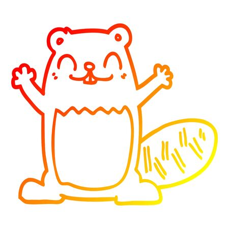 warm gradient line drawing of a cartoon beaver