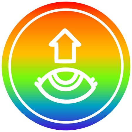 eye looking up circular icon with rainbow gradient finish