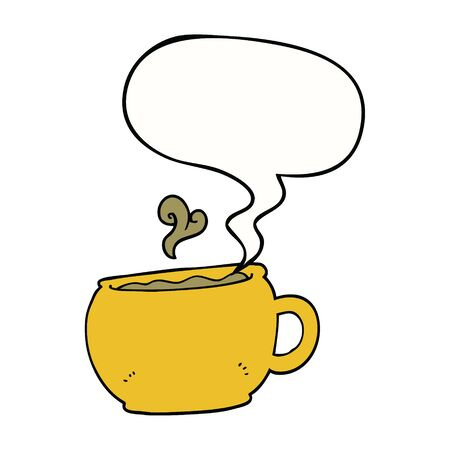cartoon coffee cup with speech bubble