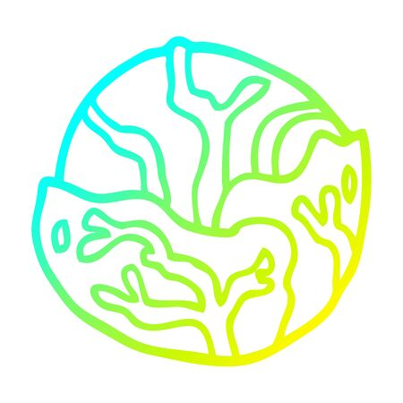 cold gradient line drawing of a cartoon cabbage