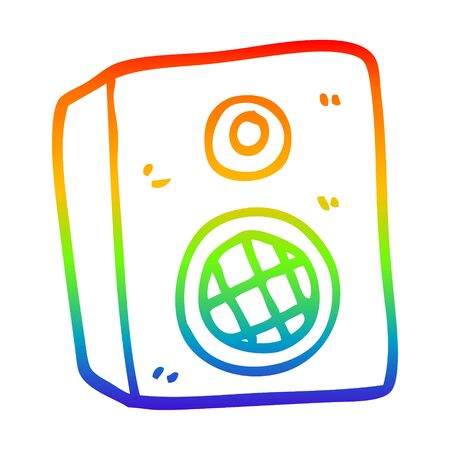 rainbow gradient line drawing of a cartoon speaker Illustration