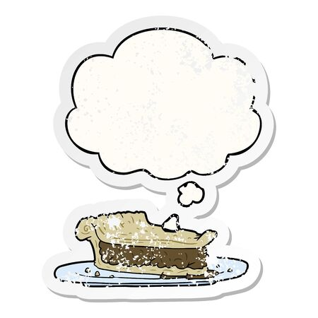 cartoon meat pie with thought bubble as a distressed worn sticker Ilustração