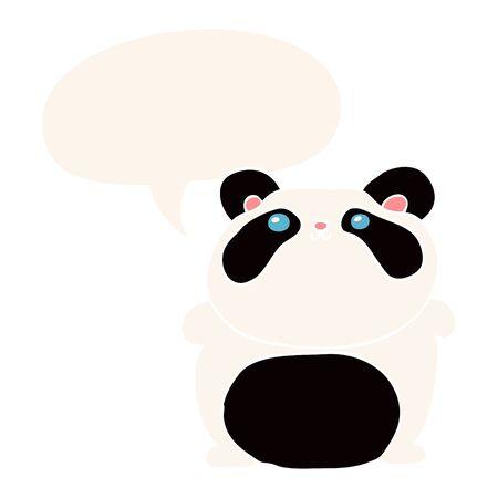 cartoon panda with speech bubble in retro style Ilustracja