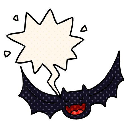 cartoon bat with speech bubble in comic book style Ilustracja