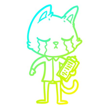 cold gradient line drawing of a crying cartoon business cat