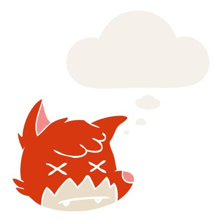 cartoon dead fox face with thought bubble in retro style