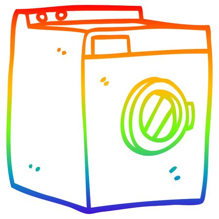 rainbow gradient line drawing of a cartoon washing machine Illustration