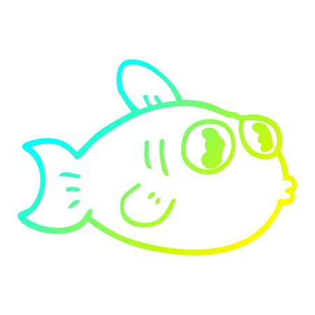 cold gradient line drawing of a cartoon fish