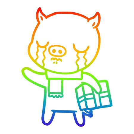 rainbow gradient line drawing of a cartoon pig crying over christmas present