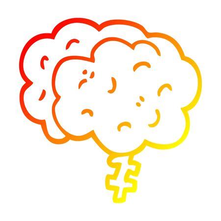 warm gradient line drawing of a cartoon brain Illusztráció