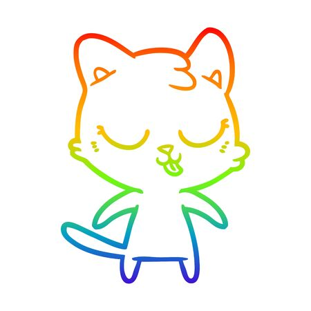 rainbow gradient line drawing of a cute cartoon cat